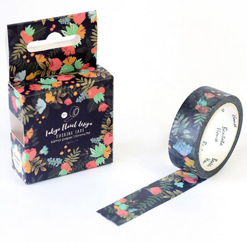 Black Floral Washi Tape