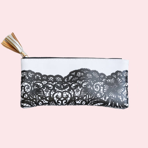 Black Lace Pencil Zipper Pouch in Faux Leather with Gold Tassel
