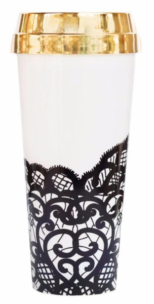 Hand-Drawn Black Lace Travel Mug with Gold Lid