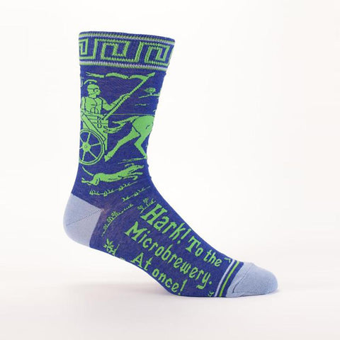 Hark To The Microbrewery At Once Men's Power Crew Socks Hipster/Nerdy/Geeky/Trendy, Funny Novelty Socks with Cool Design, Bold/Crazy/Unique Specialty Dress Socks