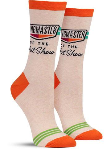 Ringmaster of the Shitshow Women's Socks in Orange and Green