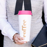 Gold Coffee Travel Mug in White and Hot Pink
