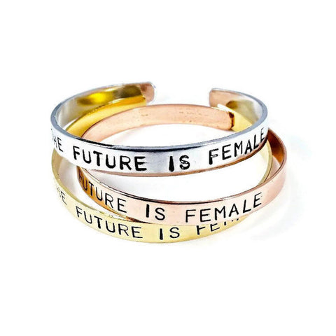 The Future is Female Adjustable Brass Cuff Bangle