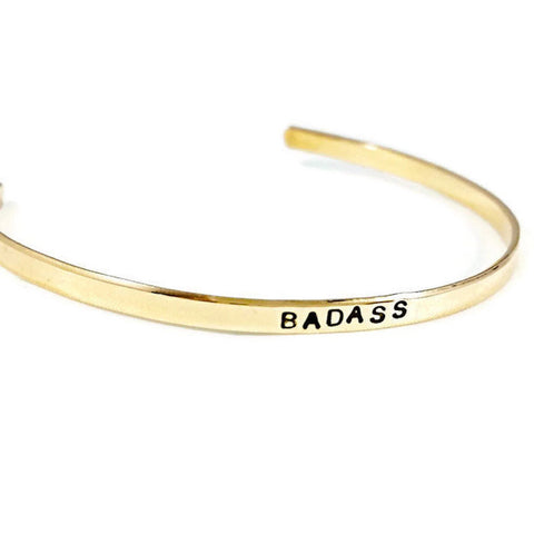 Badass Thin Adjustable Brass Cuff Bracelet
