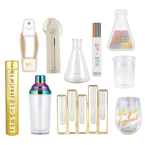 Let's Get Fizzical Magical Laboratory-Inspired Barware Set in Gold and Pastels
