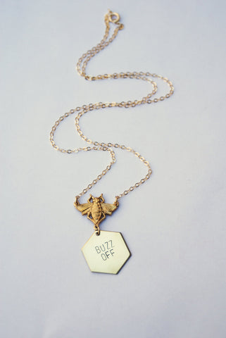 Buzz Off Stamped Brass Bee Necklace