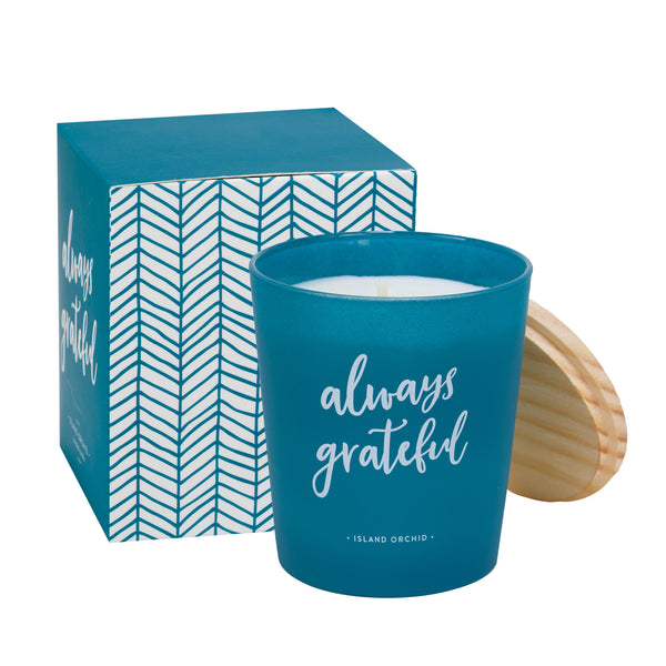 Always Grateful Blue Soy Wax Candle in Island Orchid