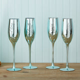 Blue Metallic Finish Champagne Glasses - Set of 2