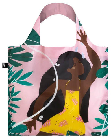 CELESTE WALLAERT Joyful and Free Tote Bag with Jungle Fairy Design in Pink