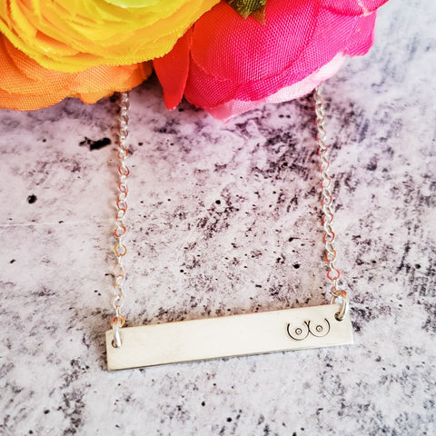 Boob Emoji Sterling Silver Bar Necklace