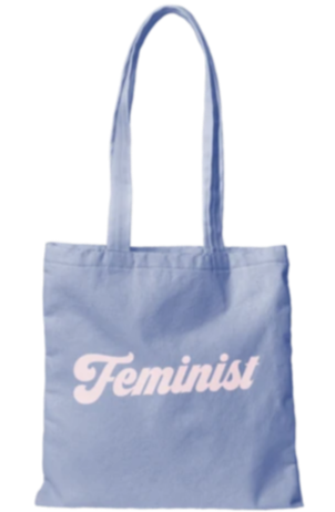 Feminist Canvas Tote Bag in Blue-State Blue | Cute Canvas Bags for Work or School