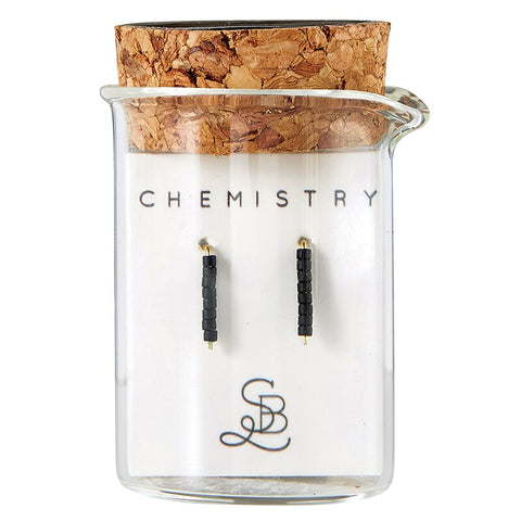 Gold Plated Carbon Chemistry Earrings | In a Glass Vial for Gift Giving