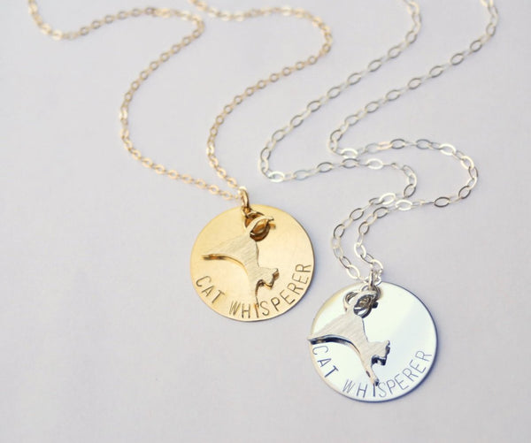 Cat Whisperer Necklace in Silver or Brass