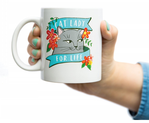 Cat Lady For Life Mug | Printed on Both Sides | Boxed for Gifting