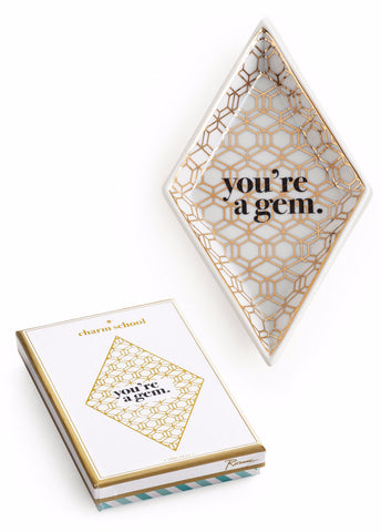 You're a Gem Diamond Tray in White and Metallic Gold