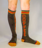 Coffee Unisex Athletic Knee Socks in Grey, Red and Gold