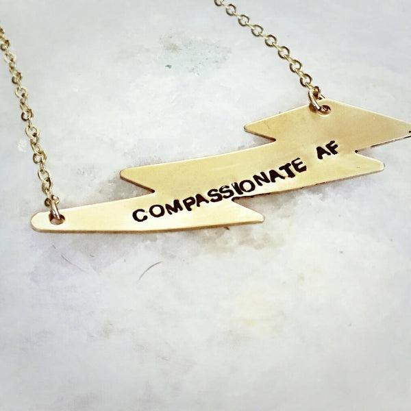 Compassionate AF Lightning Bolt Gold Necklace