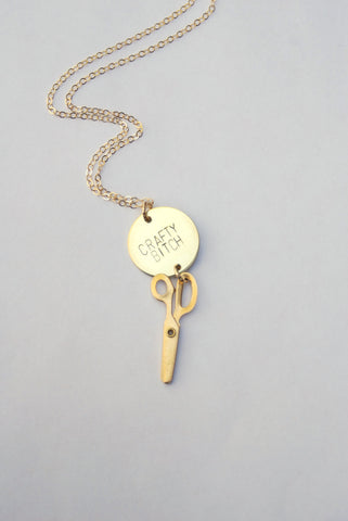 Crafty Bitch Necklace in Brass