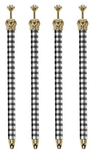 Black & White Buffalo Check Rhinestone Embellished Crown Pen Set of 12 - Novelty Office/Desk Supplies