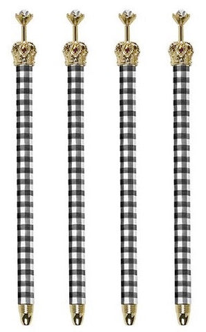 Black & White Buffalo Check Rhinestone Embellished Crown Pen Set of 12 | Giftable Pens | Novelty Office Desk Supplies