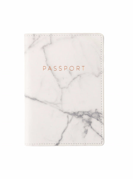 Marble Passport Case with Metallic Copper Text