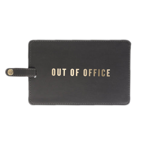 OUT OF OFFICE Jumbo Luggage Tag in Slate Gray and Metallic Gold