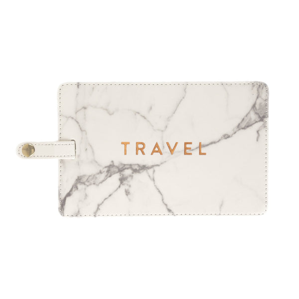 TRAVEL Jumbo Luggage Tag in White Marble and Metallic Gold
