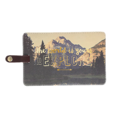 The World is Yours Jumbo Photo Luggage Tag in Mountain and Gold