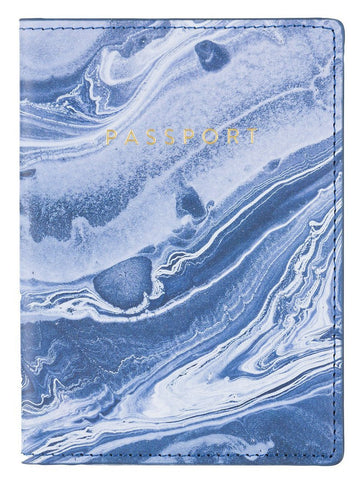 Blue Marble Passport Case with Gold Text