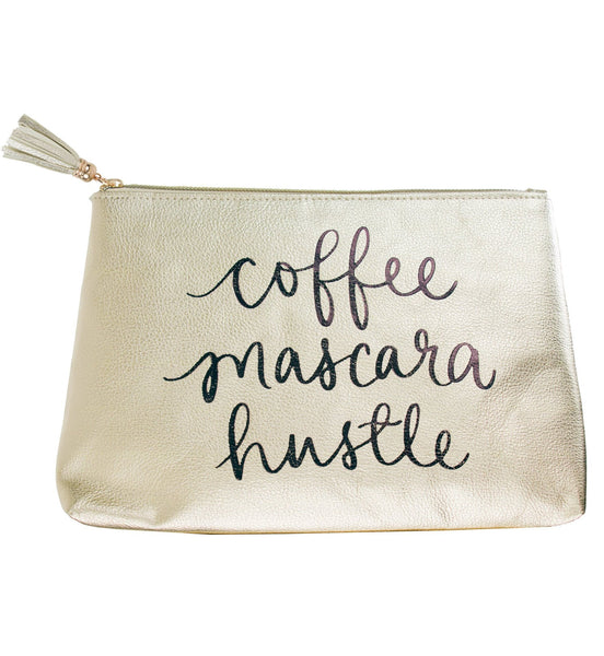 Coffee Mascara Hustle Hand Lettered Zipper Pouch in Metallic Gold