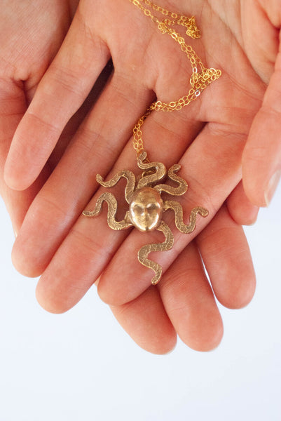 "Caravaggio-Inspired Medusa Head Bronze Necklace | 14k Gold-filled 18"" Chain"