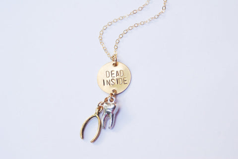 Dead Inside Necklace With Bone Charms