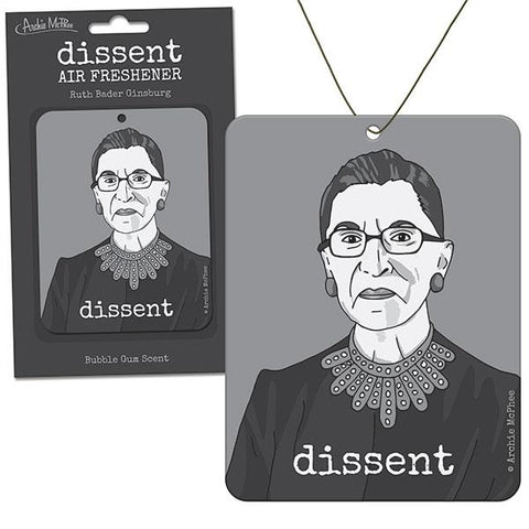 Dissent Air Freshener featuring Ruth Bader Ginsburg | Smells Like Bubblegum ... and Justice