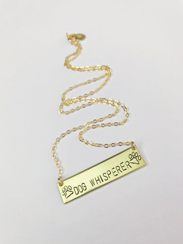 Dog Whisperer Stamped Bar Necklace with Paw Prints in Brass or Silver