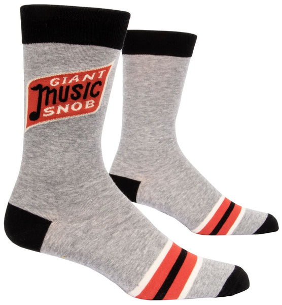 Giant Music Snob Men's Crew Socks, Hipster/Nerdy/Geeky/Trendy, Gray Black Funny Novelty Socks with Cool Design, Bold/Crazy/Unique Specialty Dress Socks