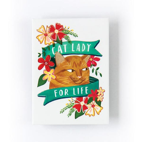 Cat Lady For Life Magnet in White and Floral