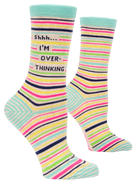 Shhh I'm Overthinking Women's Crew Socks, Hipster/Nerdy/Geeky/Trendy, Colorful Stripes Funny Novelty Socks with Cool Design, Bold/Crazy/Unique Quirky Dress Socks