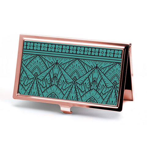 Empire Teal Business Card Case in Rose Gold