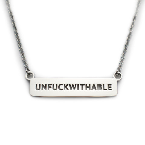 Unfuckwithable Dainty Stainless Steel Bar Necklace in Silver