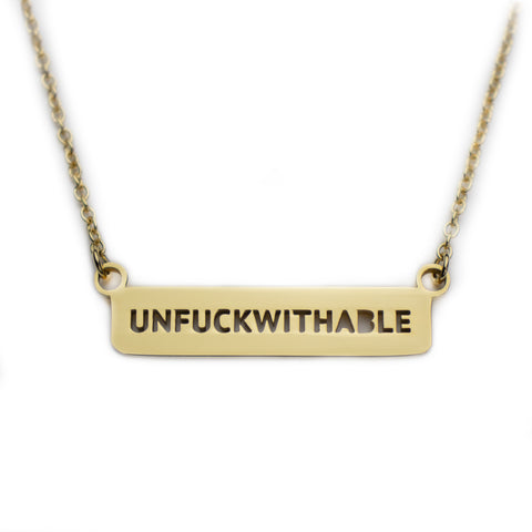 Unfuckwithable Dainty Gold Bar Necklace