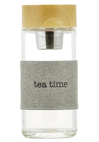 Tea Time Glass Water Bottle Tea Infuser