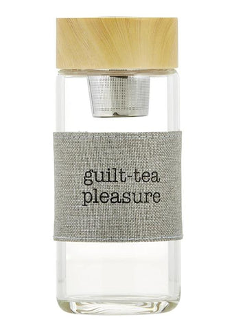 Guilt-Tea Pleasure Glass Water Bottle Tea Infuser
