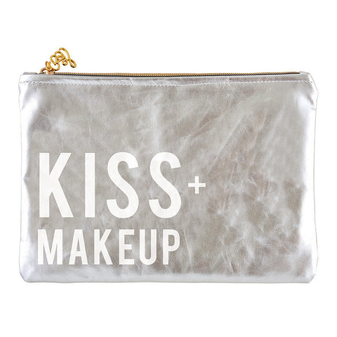 Kiss + Makeup Metallic Platinum/Silver Cute/Cool/Unique Zipper Pouch/Bag/Clutch/Cosmetic Bag