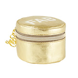 Fab Metallic Gold Round Earbud/Phone Charger/Jewelry Cool Small/Mini Zip Coin/Change Purse/Bag/Pouch/Wallet