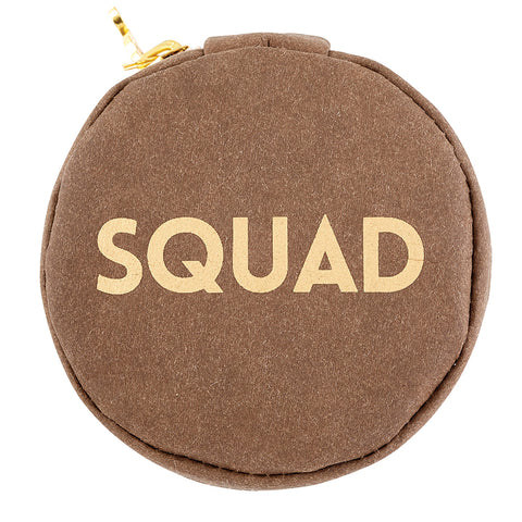 Squad Chestnut Brown Round Earbud/Phone Charger/Jewelry Cool Small/Mini Zip Coin/Change Purse/Bag/Pouch/Wallet