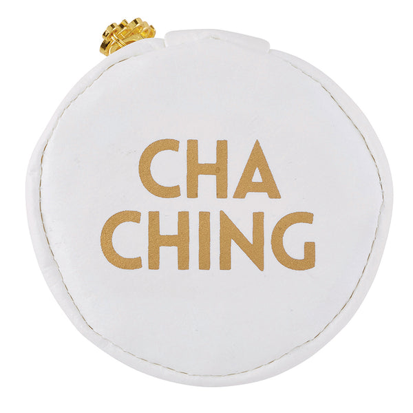 Cha Ching Gold White Round Earbud/Phone Charger/Jewelry Cool Small/Mini Zip Coin/Change Purse/Bag/Pouch/Wallet