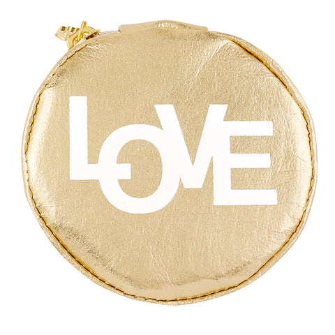 Love Gold White Round Earbud/Phone Charger/Jewelry Cool Small/Mini Zip Coin/Change Purse/Bag/Pouch/Wallet