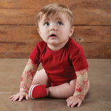 Hearts Tattoo Snapshirt Baby Bodysuit in Red | Unisex Size 6-12 Months | Funny Full Sleeve Tattoo Infant Shirt