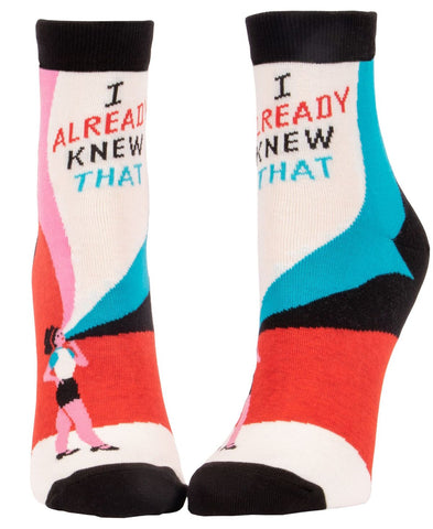 I Already Knew That Women's Ankle Socks, Hipster/Nerdy/Geeky/Trendy, Colorful Funny Novelty Socks with Cool Design, Bold/Crazy/Unique Half Dress Socks