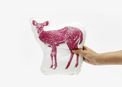 Illustrated Fawn Pillow in Hot Pink